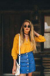top,denim skirt,high waisted denim skirt,white crossbody bag,saffron blouse,70s style,round sunglasses,crossbody bag,button up denim skirt,choker necklace