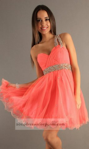 Dave and Johnny 6726 Short Coral One Shoulder Prom Dress [short coral prom dress] - $130.00 : Cheap Sequin Prom Dresses2014,Online Tailored Prom Dresses Shop,Homecoming Dresses Cheap