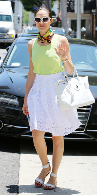 skirt emmy rossum top scarf shoes silk scarf