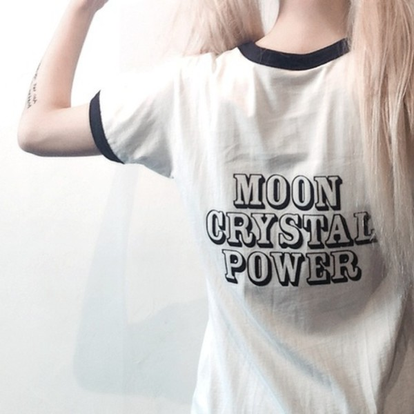 t-shirt shirt white kawaii kawaii grunge sailor moon anime black soft grunge pale grunge crystal moon power pale cute saylor moon aesthetic tumblr grunge tattoo