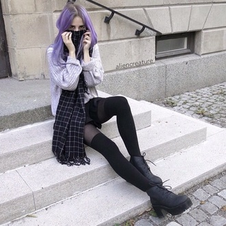scarf boots black black bikini black boots black heels white knee high socks arctic monkeys hair accessories hairstyles purple 90s style shorts shirt style pastel hair