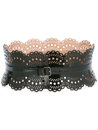 women laser cut belt waist belt leather black