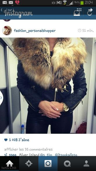 jacket cuir perfecto fourrure lether jacket black