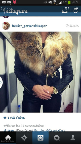 jacket cuir fourrure lether jacket black perfecto