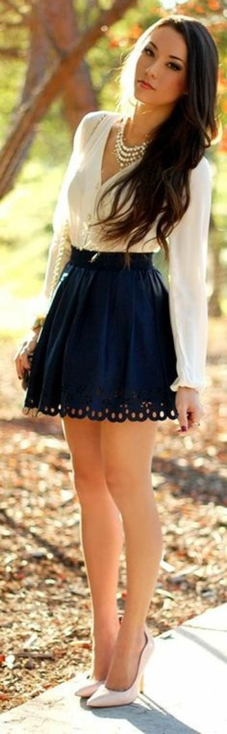 skirt blouse blue navy lace blog blogger fashion blogger pretty girl white cream ivory high heels belt high waisted high waisted skirt long hair brunette nails ring silver gold prom dress shirt pattern