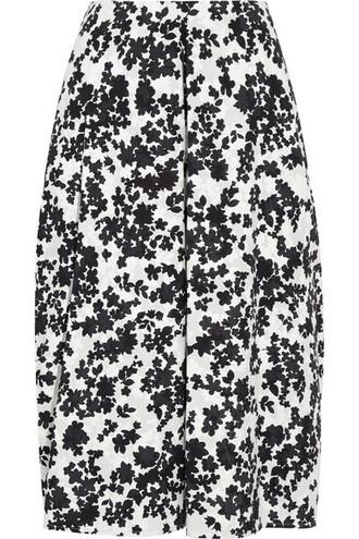 skirt midi skirt midi floral cotton print black