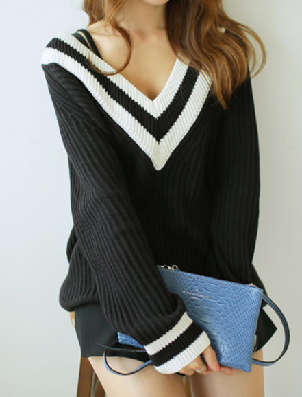 Black and white deep v sweater