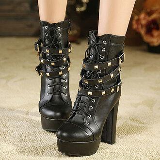 cool shoes boots high heel rivet