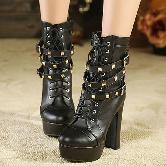 shoes rivet boot high heel cool