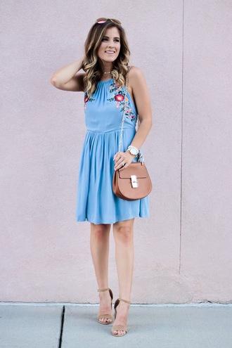 thedaintydarling blogger dress bag shoes sunglasses jewels blue dress summer outfits sandals high heel sandals