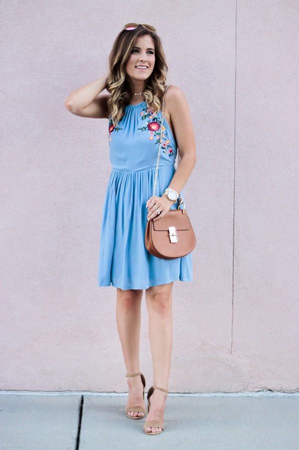 a4f1eee2877e thedaintydarling blogger dress bag shoes sunglasses jewels blue dress  summer outfits sandals high heel sandals.