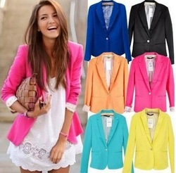 Online shop 2015 blazer women suit blazer foldable brand jacket made of cotton & spandex with lining vogue refresh blazers free shipping