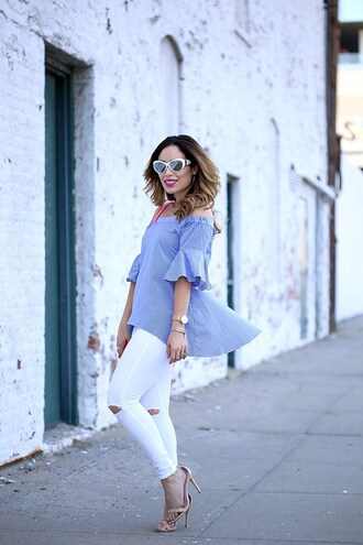 weshopinheels blogger top jeans shoes bag make-up blue top sandals high heel sandals white pants summer outfits