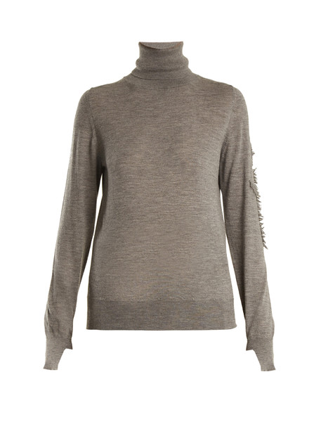 BARRIE Thistle roll-neck cashmere sweater in grey