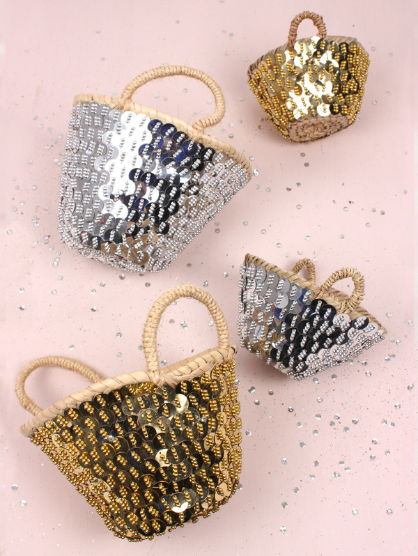 bag sequins basket home decor gold silver metallic raffia bag gift ideas