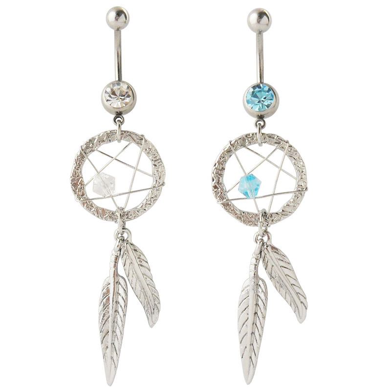 Dreamcatcher Gem Star Feathers Belly Navel Ring CZ Button Piercing Jewelry | eBay