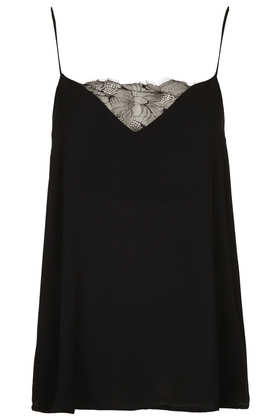 Lace Insert Cami - Tops  - Clothing  - Topshop