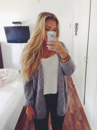 oversized sweater black jeans white tank top blue sweater blue over sized sweater dress