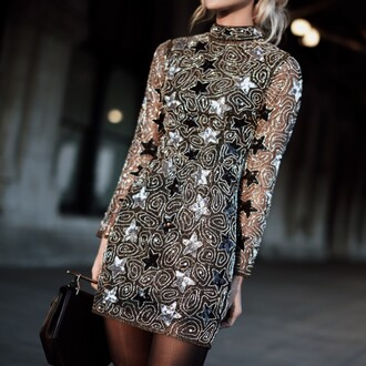 dress tumblr mini dress sexy party dresses party dress holiday season holiday dress christmas christmas dress long sleeves stars silver dress sequins sequin dress bag black bag topshop