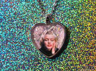 marilyn monroe glitter necklace heart etsy holographic