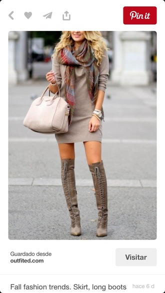 dress fall outfits lace up boots sweater dress