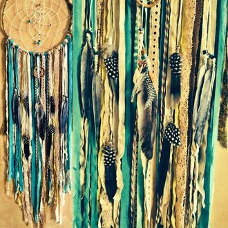 home accessory blue feathers ribbon lace colorful dreamcatcher