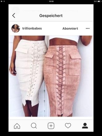 skirt pink midi skirt white lovely instagram fashion fashioninspo inspiration pretty khaki laced laced skirt laced up skirt style beautiful