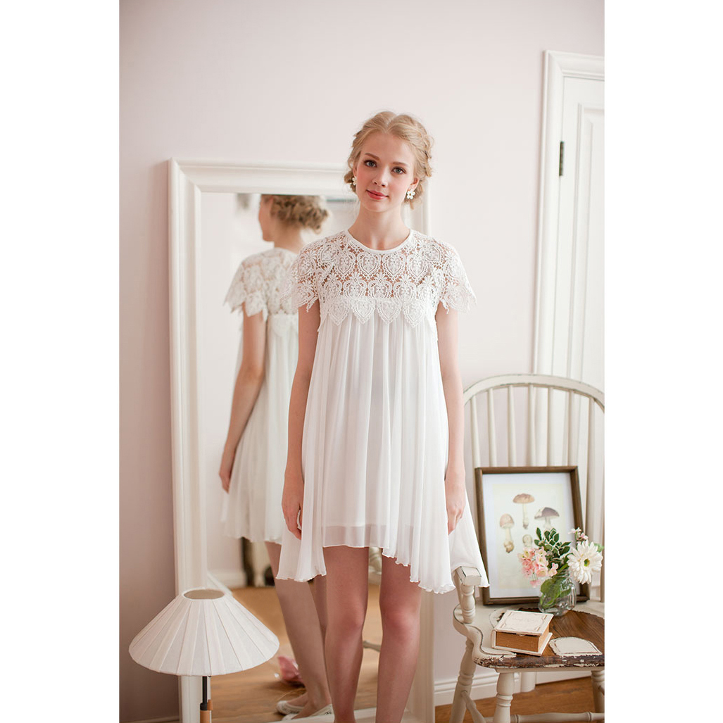 White Dress with Lace Top - Retro, Indie and Unique Fashion
