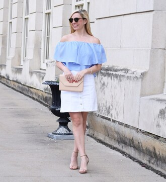 blouse blue ruffle off the shoulder off the shoulder top
