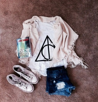 shirt white top tank top harry potter tank tops harry potter and the deathly hallows symbol