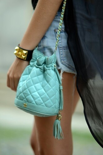 bag blue bag cute small bag tiffany tote bag fashion chanel