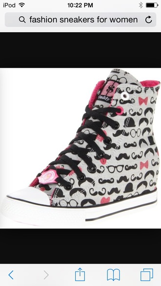 shoes mustache patterns nerdy glasses pattern black grey high top sneakers pinkish color girls sneakers