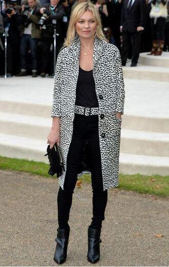 coat animal print kate moss fashion week pants