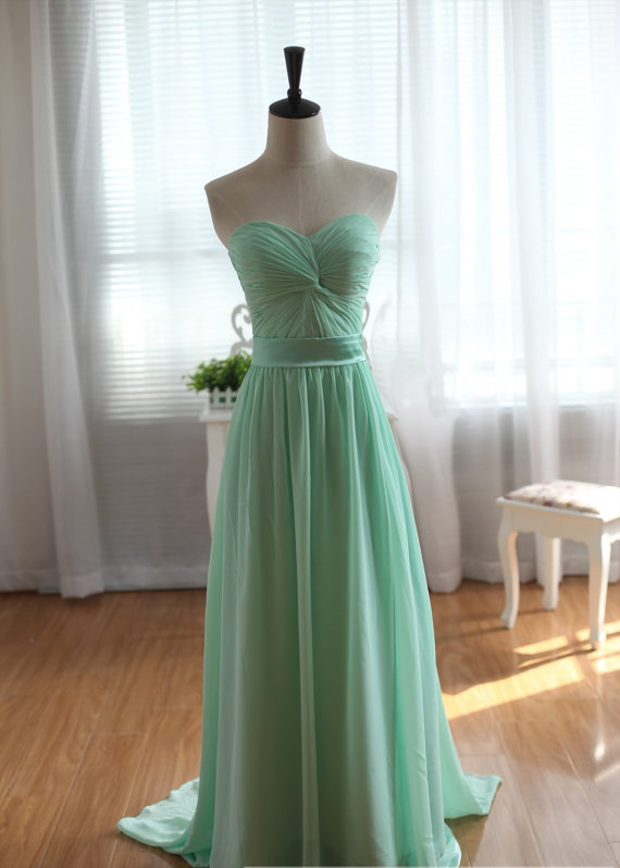 Green Prom Dress Chiffon Bridesmaid by DreamBridalStudio