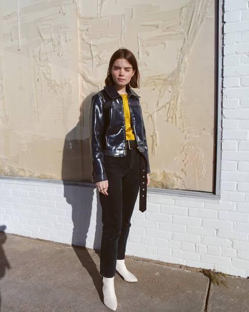 jacket double3xposure blogger vinyl blue jacket pants black pants corduroy boots white boots ankle boots