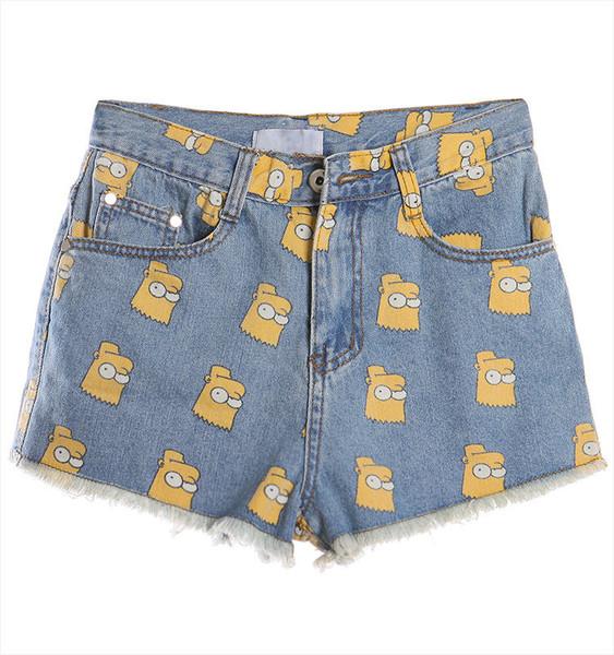 Bart Simpson Print Jeans Shorts (2 colors available) – Glamzelle
