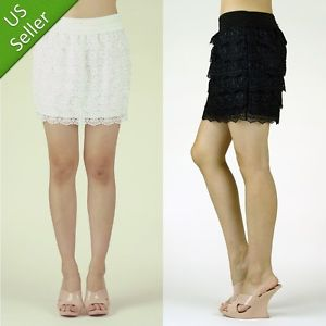 Black White Knitted Crochet Tiered Lace Layered High Waist Mini A-Line Skirt