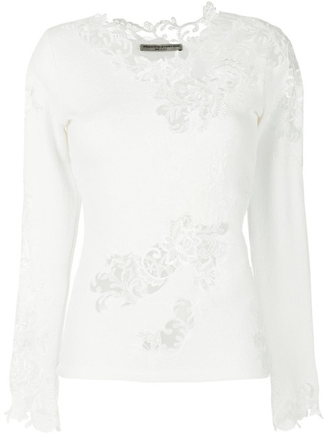 Ermanno Scervino jumper embroidered women white silk wool sweater