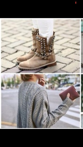 shoes boots fall outfits fall boots girly studs rock sweater