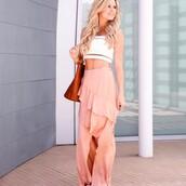 skirt,tumblr,ruffle skirt,wrap skirt,maxi skirt,long skirt,ruffle,slit skirt,bag,brown bag,top,white top,white crop tops,crop tops