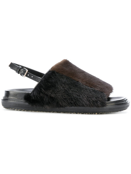 MARNI fur women sandals leather brown shoes
