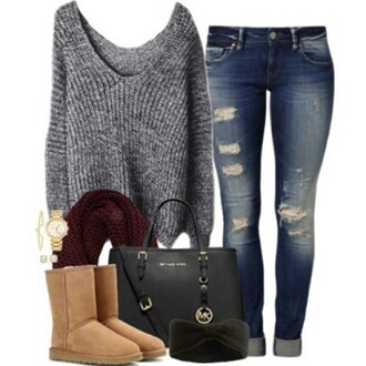 jeans denim bag purse ruby scarf ugg boots boots style ootd nice warm jeans pants skinny pants skinny jeans scarf scarfs on point scarf michael kors ripped jeans outfit tumblr outfit tumblr clothes polyvore clothes polyvore sets