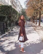 coat,trench coat,leather,white jeans,mules,handbag