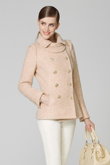 Double Breasted Pure Color Slim Wool Coat [FEBK0445]- US$ 101.99 - PersunMall.com
