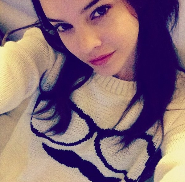 sweater barbara palvin moustache glasses knitted sweater