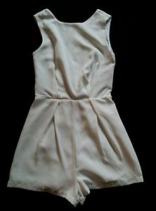 New topshop white lace back playsuit size 8