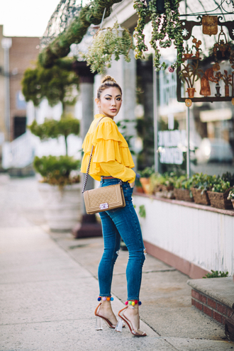 not jess fashion blogger top pants shoes bag blouse tumblr ruffled top brown bag yellow yellow top ruffle denim jeans blue jeans skinny jeans sandals sandal heels high heel sandals spring outfits