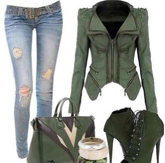 green jacket stud zipper