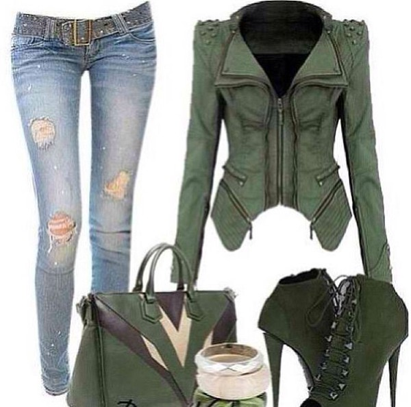 jacket green stud zip