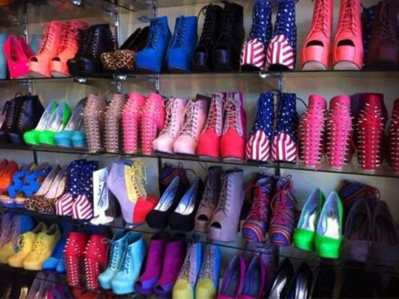 shoes high heels black pump sandals blue red boots american flag pink white green